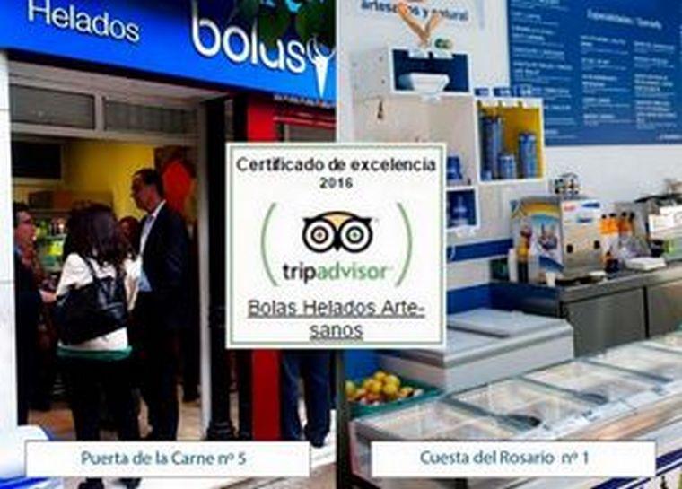 Heladerías Artesanas Bolas consigue el Certificado de Excelencia de Tripadvisor