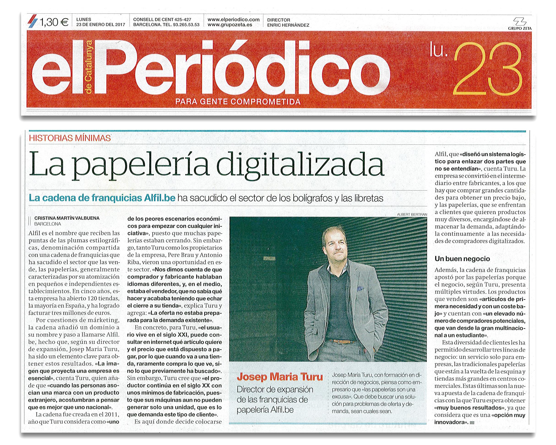 La franquicia Alfil.be, en El Periódico de Catalunya